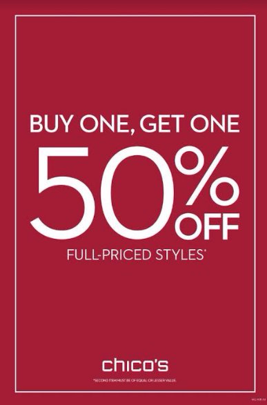 Buy One, Get One 50% Off Full Priced Styles