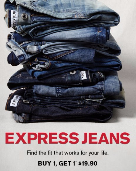 Express Jeans B1G1 for $19.90