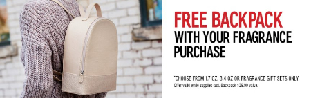 Free Backpack With Your Fragrance Purchase