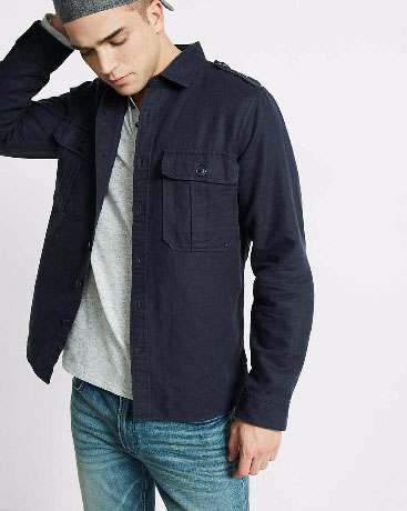Linen Blend Military Button Front Shirt