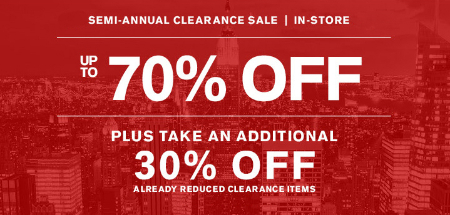 Up to 70% Off Semi-Annual Clearance Sale at Express