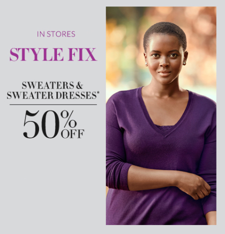 50% Off Sweaters & Sweater Dresses at Lane Bryant