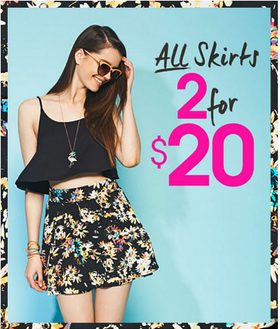 2 for $20 All Skirts at Wet Seal