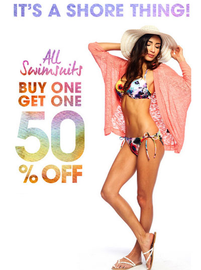 BOGO 50% Off All Swimsuits at Wet Seal