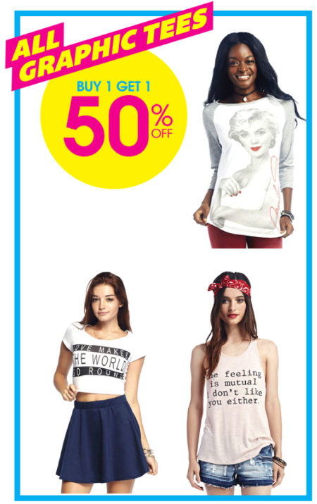 BOGO 50% Off All Graphic Tees at Wet Seal