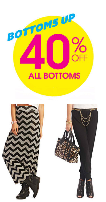 40% Off All Bottoms at Wet Seal