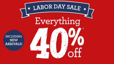 40% Off Labor Day Sale at Gymboree