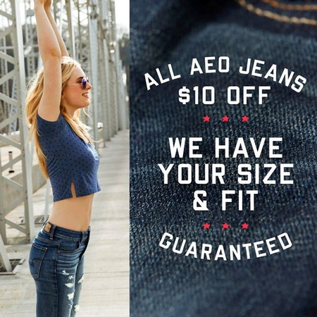 All AEO Jeans- $10 Off at American Eagle Outfitters/Aerie