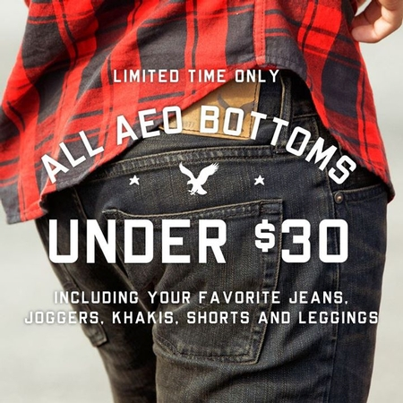Get All AEO Bottoms Under $30 at American Eagle Outfitters