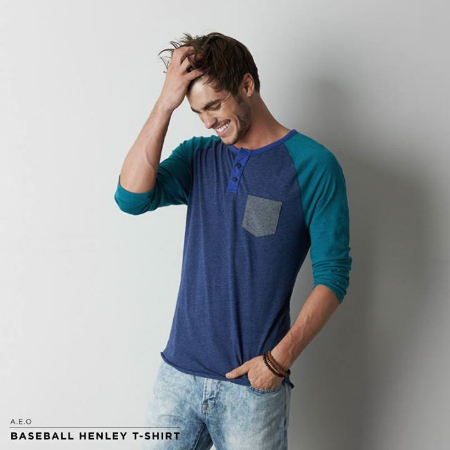 Grab This Baseball Henley T-Shirt at American Eagle Outfitters