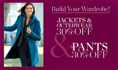 30% Off Jackets, Outerwear & Pants