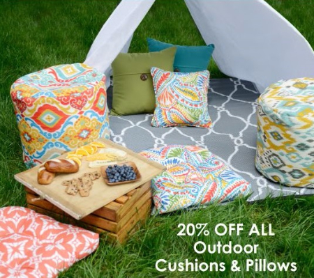 20% Off All Outdoor Cushions and Pillows