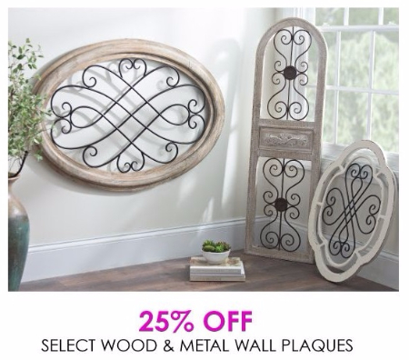 25% Off Select Wood & Metal Wall Plaques