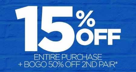 15% Off Entire Purchase Plus BOGO 50% Off Second Pair