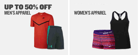 Up to 50% Off Apparel
