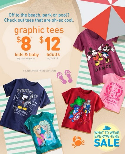 $8 Kids & Baby and $12 Adult Graphic Tees at Disney Collection (inside JCPenney)