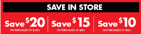 Save up to $20 on Purchases of $100+
