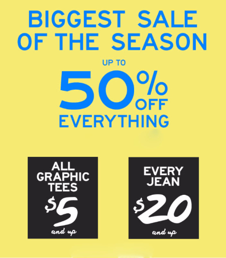 Up to 50% Off Everything at Aeropostale