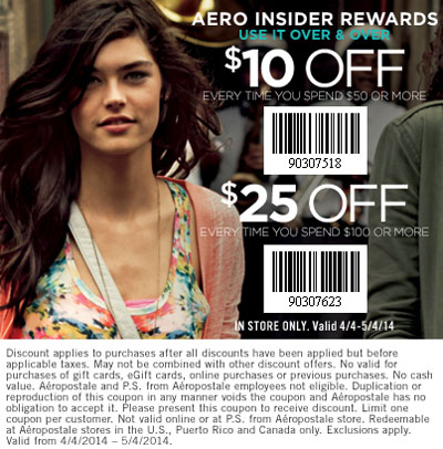 $25 Off $100 at Aeropostale