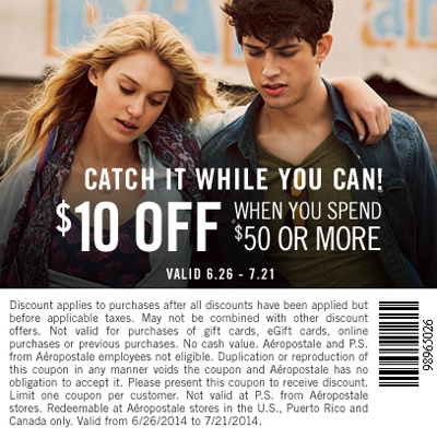 $10 Off $50 Purchase or More at Aeropostale