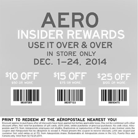 $25 Off $100 Purchase or More at Aéropostale