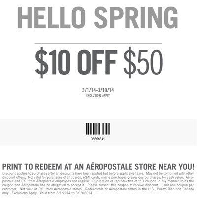 $10 Off $50! at Aeropostale