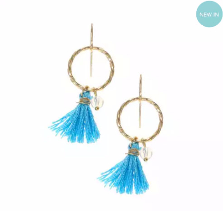 Mini Blue and Gold Tassel Hoop Drop Earrings