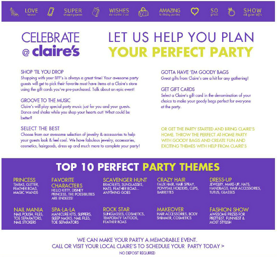 Celebrate at Claire's!