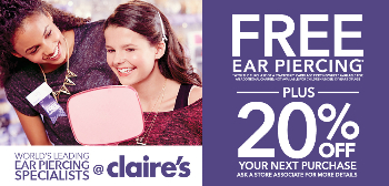 graphic regarding Claire's Printable Coupons identified as Claires boutique ear piercing coupon : Great tv set discounts less than 1000