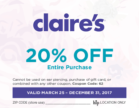 Claires coupon code
