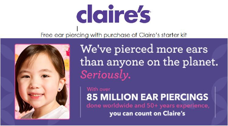 picture relating to Claires Printable Coupons named Claires discount coupons for ear piercing / Cherry discount coupons