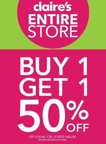 Buy One - Get One 50% OFF Entire Store at Claire's