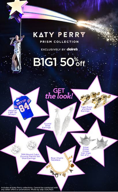 BOGO 50% Off Katy Perry Collections at Claire's