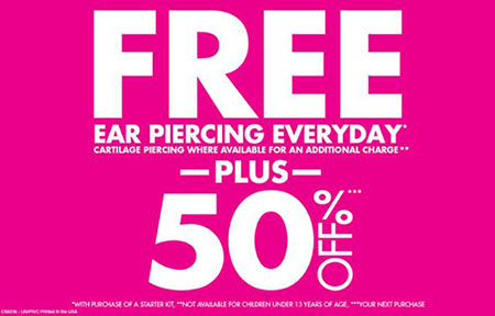 picture relating to Claires Coupon Printable identified as Claires discount coupons for ear piercing / Cherry discount coupons