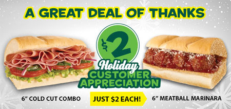 $2 Holiday Customer Appreciation at Subway