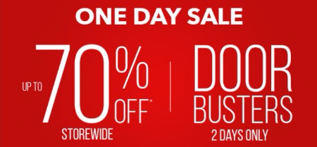One Day Sale up to 70% Off Storewide