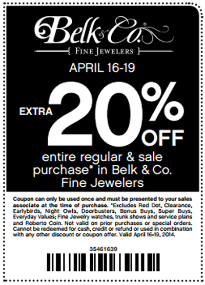 Fine Jewelry: Extra 20% Off at Belk