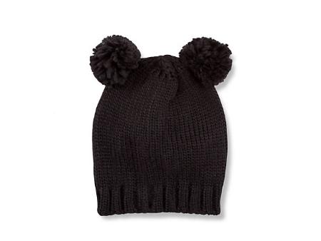 Knit Beanie Hat with Pom Pom Ears