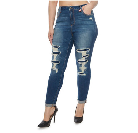 Plus Size Cello Jeans with Distressed Front