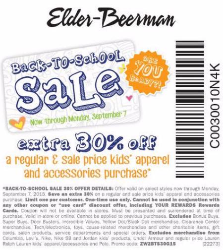 Extra 30% Off Back-to-School Sale at Elder-Beerman