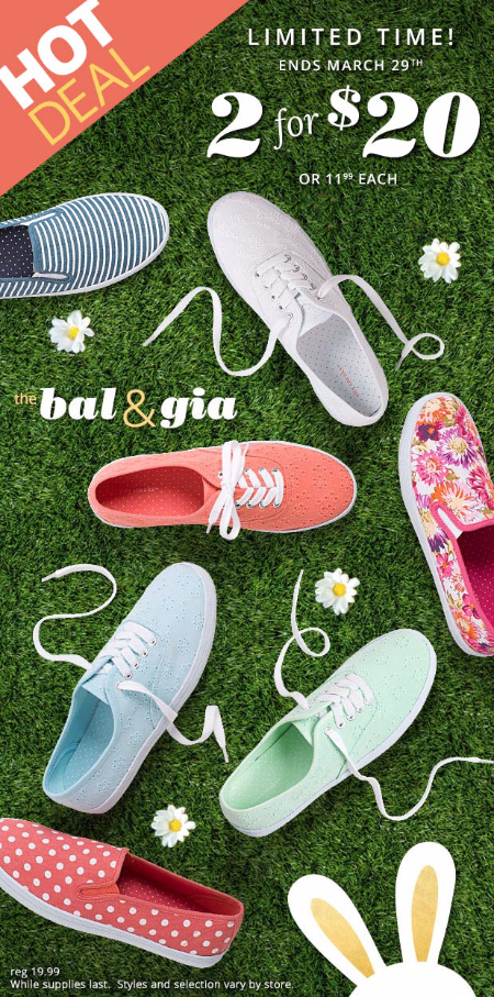 2 For $20 Spring Sneakers at Payless ShoeSource