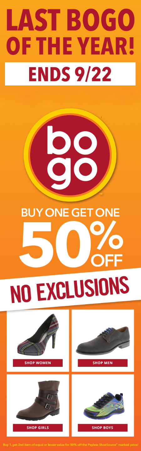 BOGO 50% Off Shoes at Payless ShoeSource
