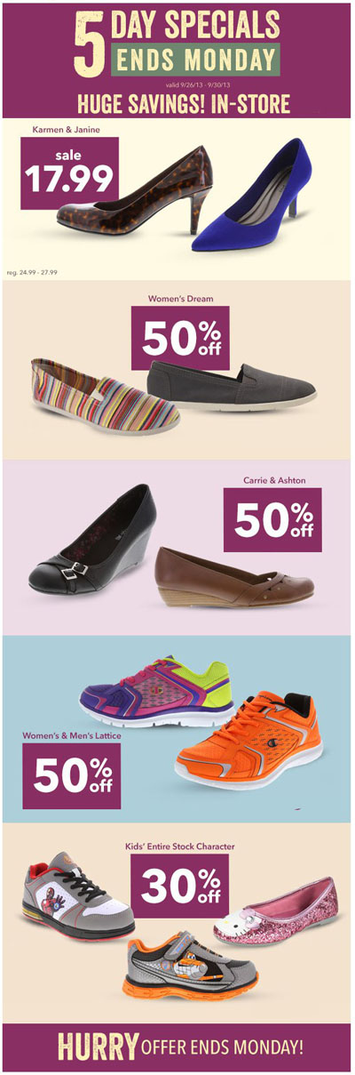 ... 50% off Specials! at Payless ShoeSource :: 09/26/2013 to 09/30/2013