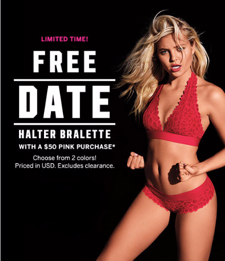 Free Date Halter Bralette With $50 Pink Purchase