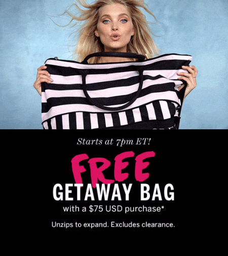 Free Getaway Bag with a $75 Purchase at Victoria's Secret