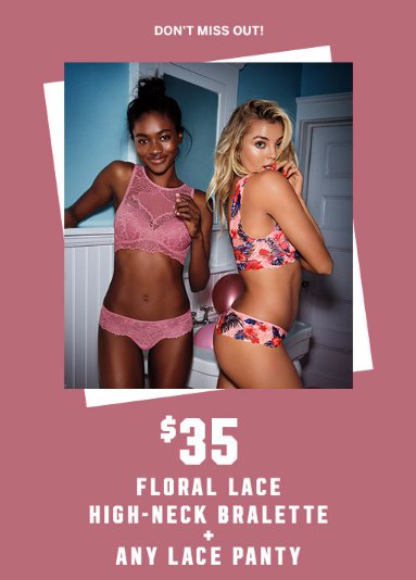 $35 Floral Lace High-Neck Bralette & Any Lace Panty