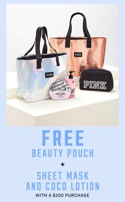 7d5b27a56a Mall of the Bluffs     Free PINK Tote   Beauty Pouch With a  100 ...