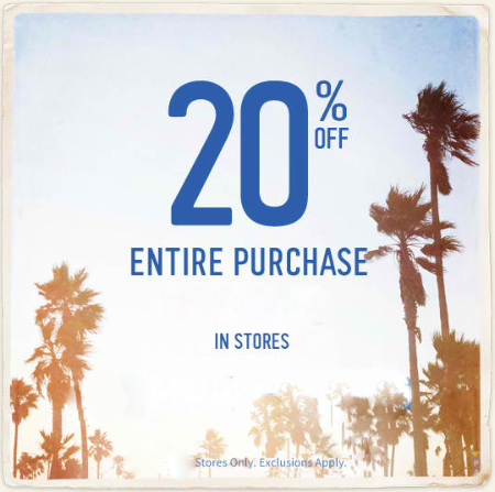 20% Off Entire Purchase at Hollister Co.