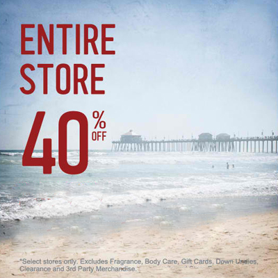 40% Off Entire Store at Hollister