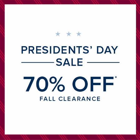 70% Off Presidents' Day Sale